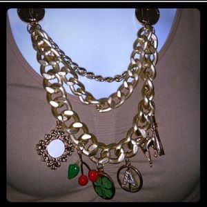 Gold Chunky Charm Fashion Necklace
